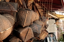 Antique smoked bamboo baskets