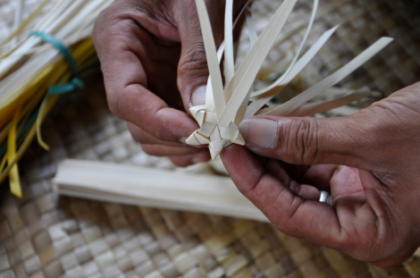 Ceremonial basket (with star shaped start) made from lontar palm